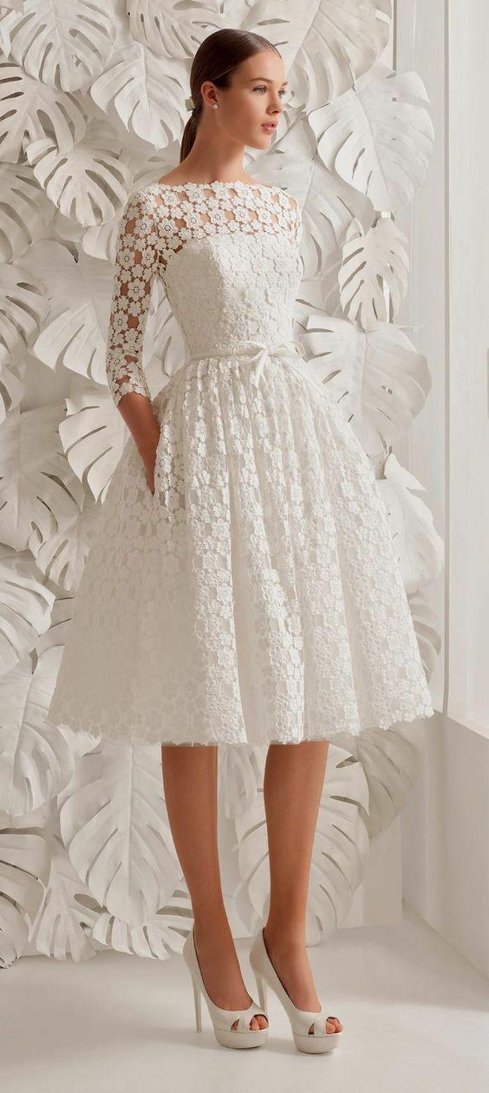 robes de soirée pour mariage en dentelle blanche avec col bateau et manches 3/4
