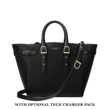 Midi Marylebone Tech Tote in Black Pebble from Aspinal of London.