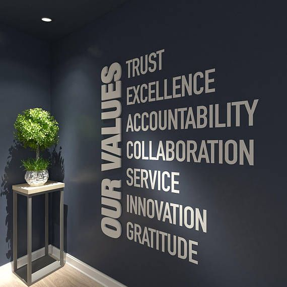 Our Values Office Wall Art Decor 3d Pvc Typography Inspirational Motivational Wo Office Wall Design Office Decor Professional Corporate Office Design
