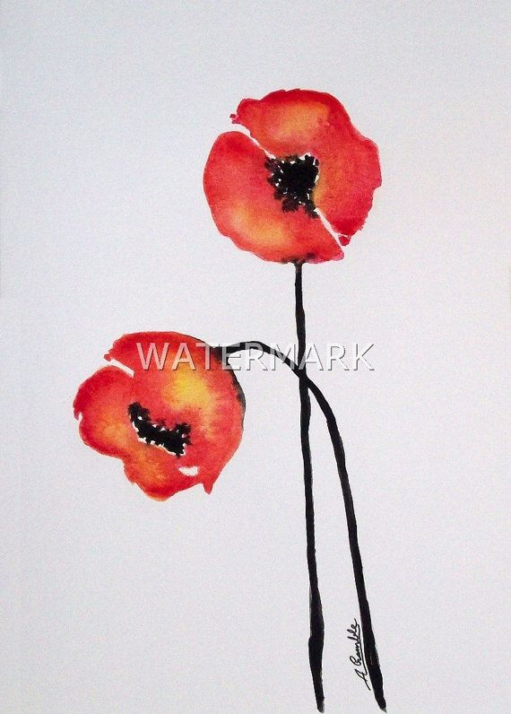 Abstract Flowers / Poppies , original watercolour (not print) on 240g paper A5 approx: 8 x 6inch / 21 x 15cm. FREE SHIPPING $23.00 USD