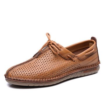 Men Hand Stitching Hole Breathable Soft Lace Up Outdoor Casual Leather Shoes - NewChic Mobile.