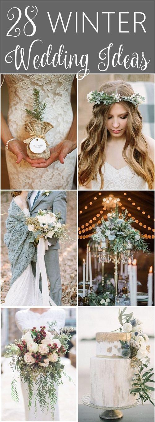 28 Winter Wedding Ideas - wedding cakes, bouquets, centerpieces, ceremony decor and wedding details. #winterwedding