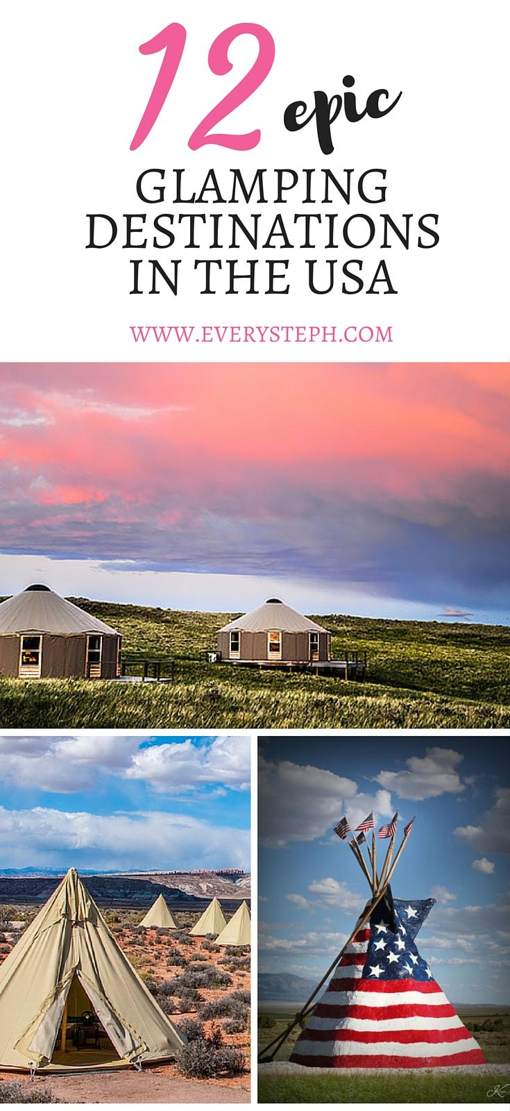 12 epic glamping destinations in the USA that will make you pack your bags right now! - Images by Moab Under Canvas, Sinya on Lone Man Creek, Absolute Travel  | Glamping in California | Glamping Ideas | Glamping travel | Glamping in Texas | Glamping in New York | Glamping in Florida