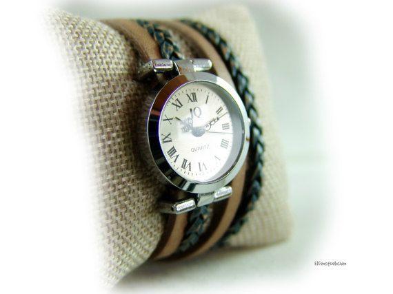 Damen Armbanduhr Leder Wickeluhr vintage taupe von elfenstuebchen