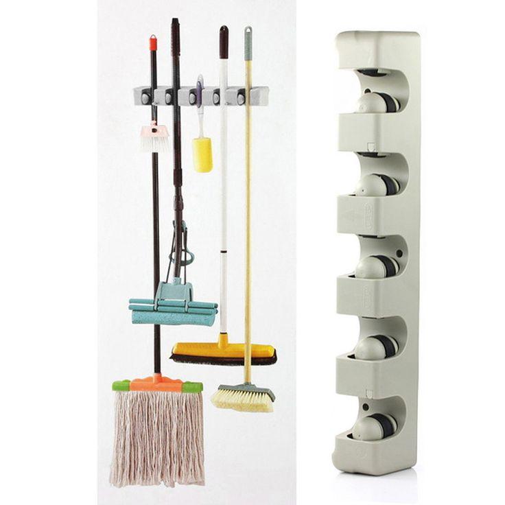 ABS Dinding Dapur Dipasang Gantungan 5 Posisi Kitchen Storage Mop Broom Organizer Pemegang Sikat Alat