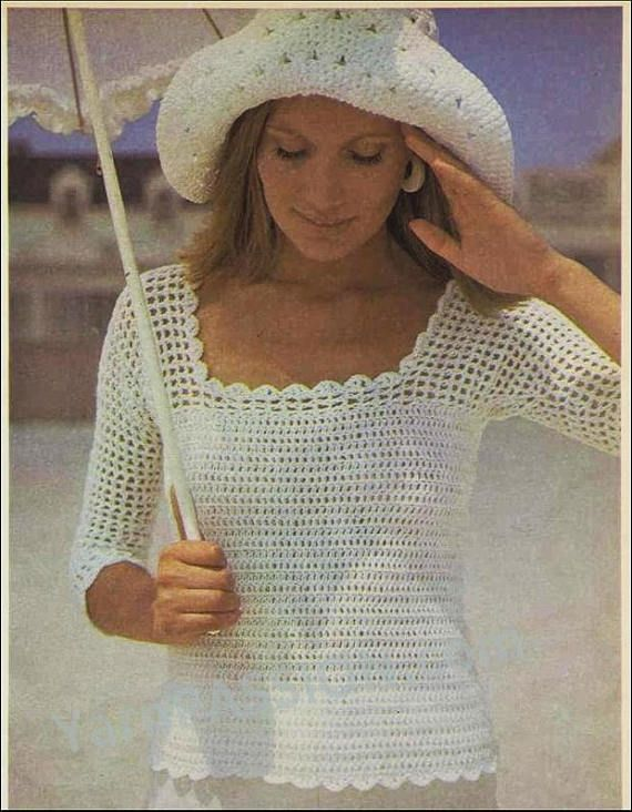 Crochet 3/4 sleeve Square Neck Top with Hat SIZES: 79 89cm pattern found on ETSY in the shop called YarnPassionDesigns for only $1.45