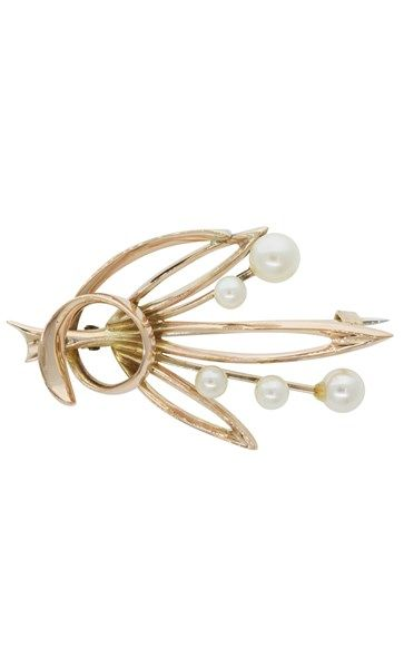 Vintage 9ct yellow gold pearl & leaf brooch