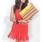 Brighten your Day with Vibrant Yellow Handmade Leather Mashru Notebook Folder with Bold Stripes