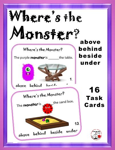 Monsters are so much fun wherever they are!  Students see monsters ...  above ... behind ... beside ... under... objects and write the answer for which of these places they find each monster... PREPOSITIONS ... Sixteen task cards, response page, answer key, blank cards for students to draw their own, award certificates for completion.