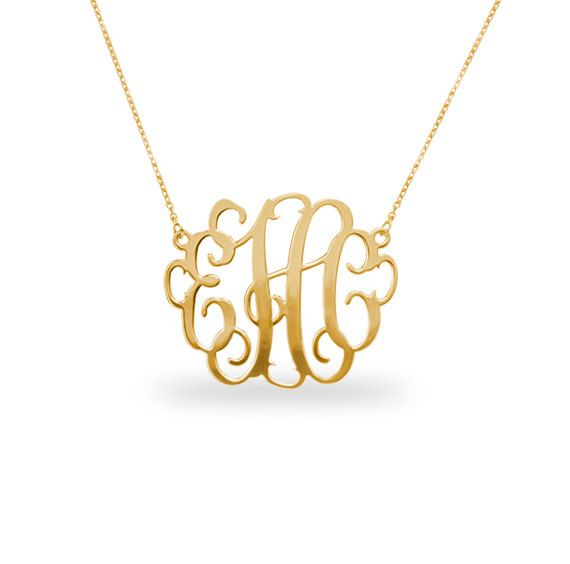 "Gold monogram necklace, monogrammed necklace, 1"" inch Personalized Monogram - 18k Gold Plated"