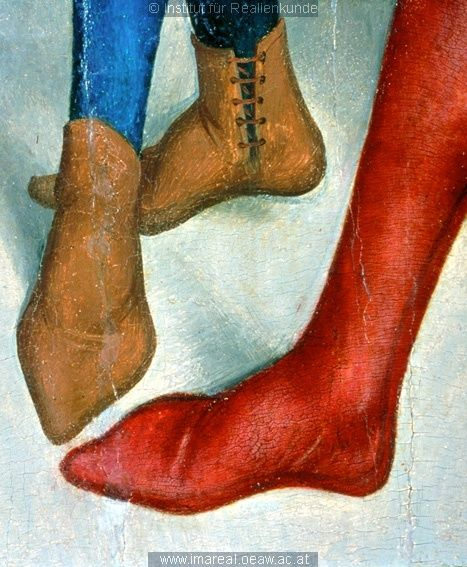 14th century depiction of side-laced boots