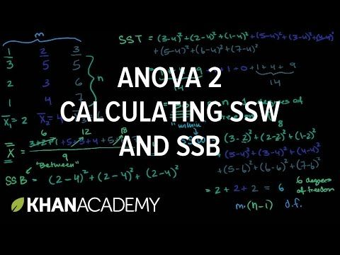 (1) ANOVA 2: Calculating SSW and SSB (total sum of squares within and between) | Analysis of variance | Inferential statistics | Probability and statistics | Khan Academy