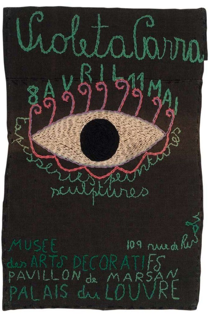 Afiche 1964. 98 x 66,5 cm.  Yute teñido bordado con lanigrafía  Fundación Violeta Parra