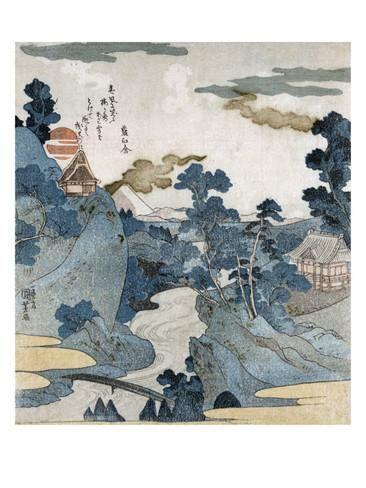 Evening View of Fuji, Japanese Wood-Cut Print Poster tekijänä Lantern Press AllPosters.fi-sivustossa