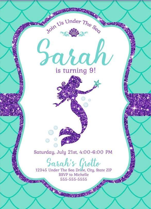 free mermaid invitation template for