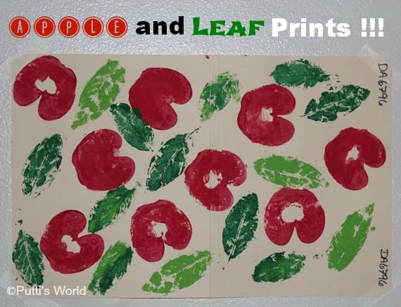 Apple and Leaf Prints with easy DIY  stamp pad...