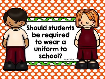 Do you think students should be required to wear uniforms to school?  What would your students have to say about this?  I make a black and white stapled packet of this lesson for each child so they can follow along as I teach the lesson(s) using the Smartboard.