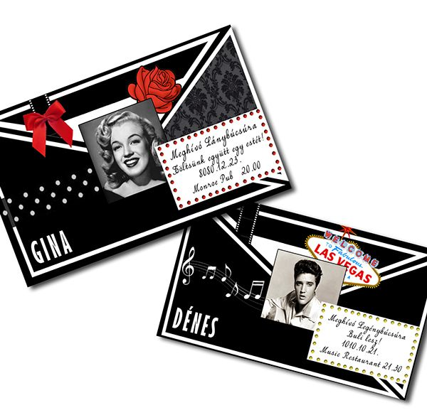 Rockabilly bachelor & bachelorette party invitation about Elvis and Marilyn and cool stuffs.