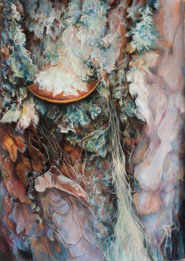 Katerina Papazissi- Flesh of the woods, 2016 Pastel on paper, 70x100cm  #painting, #pastel