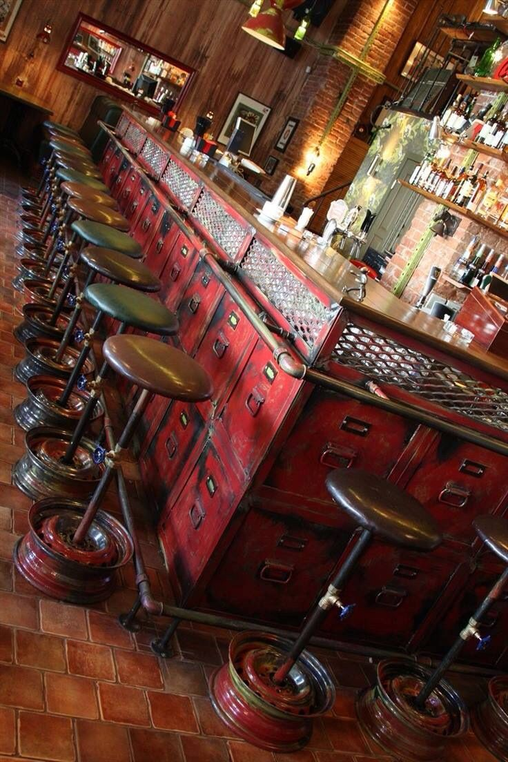 Industrial Bar is amazing - see the bar stools with wheel rims and the bar itself made from old filing cabinet drawers .. love it