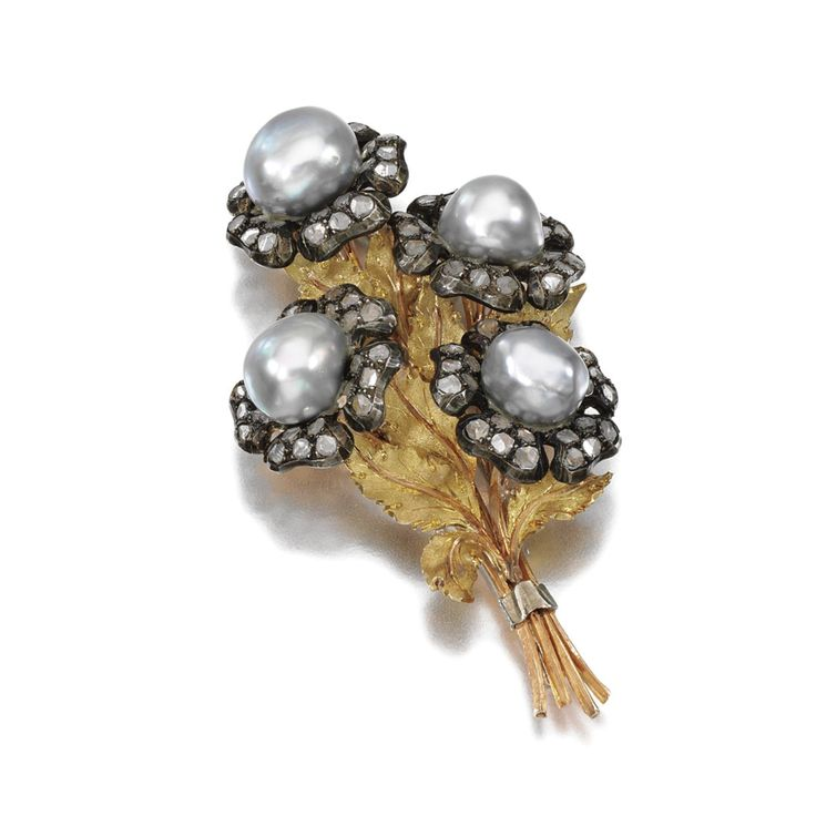 PEARL AND DIAMOND BROOCH, BUCCELLATI, 1960s