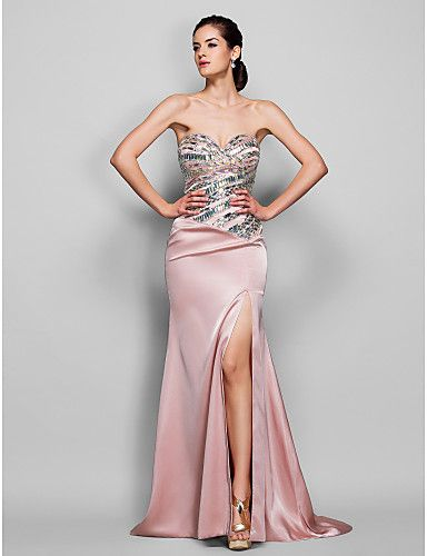 Retrouvailles robe de soirée formelle - perle, plus rose tailles trompette / sirène de balayage sweetheart / pinceau train satin stretch de 889749 2016 à €146.99