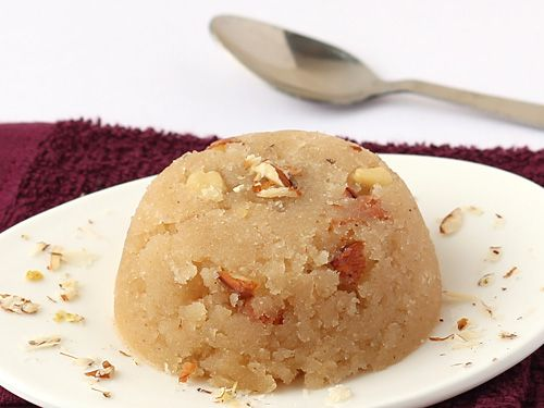 Suji ka Halwa Recipe. This almonds and cashew rich soft and savory sooji halwa prepared without milk is a welcome treat for taste buds at anytime and can give tough competition to best of the best sweets on the table. However, its mellow and aromatic sweet taste is not the only thing that makes it best, the ease of preparation can help you entertain your guests at short notice.