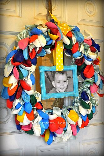 Balloon wreath...what a great way to add to the special day.