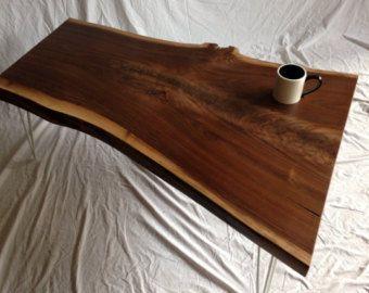 Vivo borde mesa - mesa de centro madera losa - mesa de madera - madera losa tabla - borde vivo - en vivo borde mesa nogal (33)