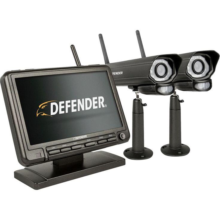 Defender - PhoenixM2 4-Channel, 2-Camera Indoor/Outdoor Wireless 640x480 4GB DVR Security System - Black