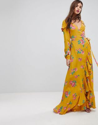 b5379a1e8470 ASOS Long Sleeve Wrap Maxi Dress in Bold Floral | Style in 2019 ...