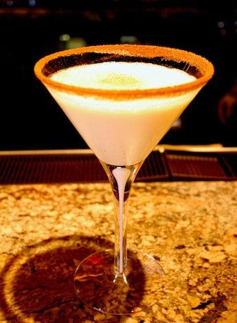 The Best Eggnog Martini Recipe  3 ounces eggnog  1/2 ounce spiced rum 1 ounce vanilla vodka) Nutmeg and whipped cream for garnish Directions: Mix eggnog and liquor in shaker with ice. Shake well. Strain into a martini glass. Sprinkle with ground nutmeg, or do a nutmeg and sugar rim.