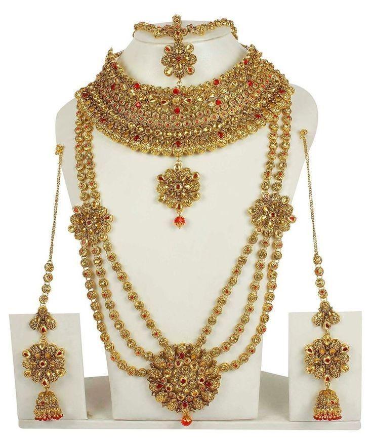New Elegant Silver Indian Bollywood Costume Jewellery Necklace Set Wedding
