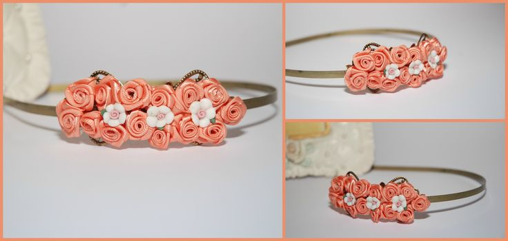 peach roses headpiece.
