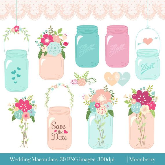 "Mason Jar Clipart - ""WEDDING MASON JAR"" Clip art mason jar, wedding invitation, wedding floral clipart . 39 png images - approximately 6"""