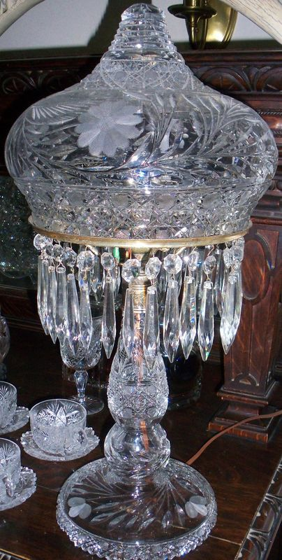 PRICE GUIDE ANTIQUE: OLD ANTIQUE VICTORIAN PAIRPOINT AMERICAN BRILLIANT PERIOD CUT GLASS TABLE LAMP