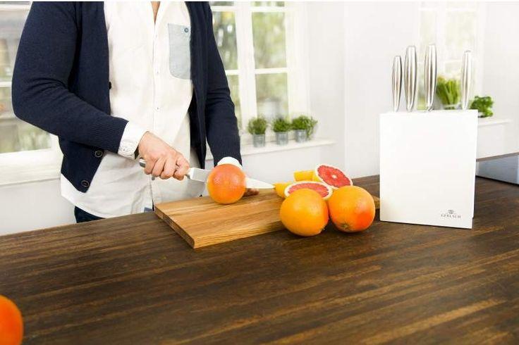 Gerlach Modern 993 - komplet 5 noży kuchennych w białym bloku. Pomysł na prezent. Nowoczesna kuchnia. Gotowanie.