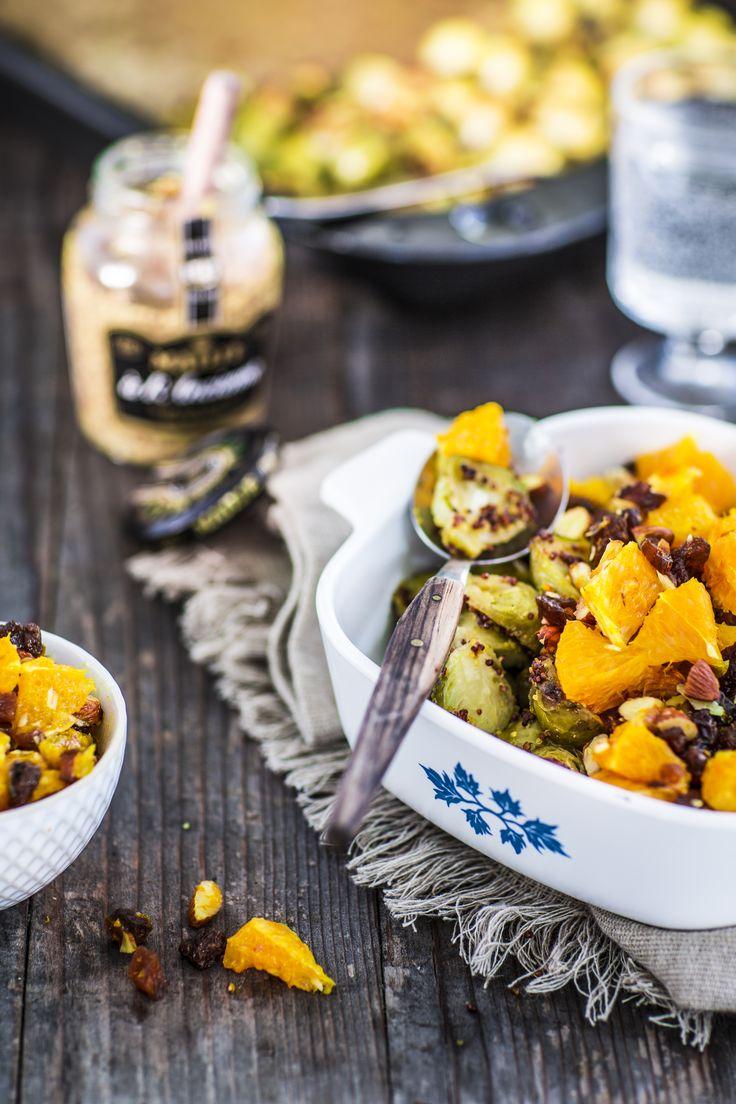 Dieses Gericht überzeugt nicht nur mit seinen herrlichen Herbstfarben: gerösteter Rosenkohl mit Maille Dijon-Senf! #maille #senf #dijonsenf #rosenkohl #rezepte #freundedesgeschmacks