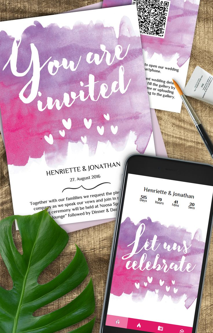 Lumiere Pink invitation card suite - not only watercolours are trendy, the app in the same design certainly is as well!