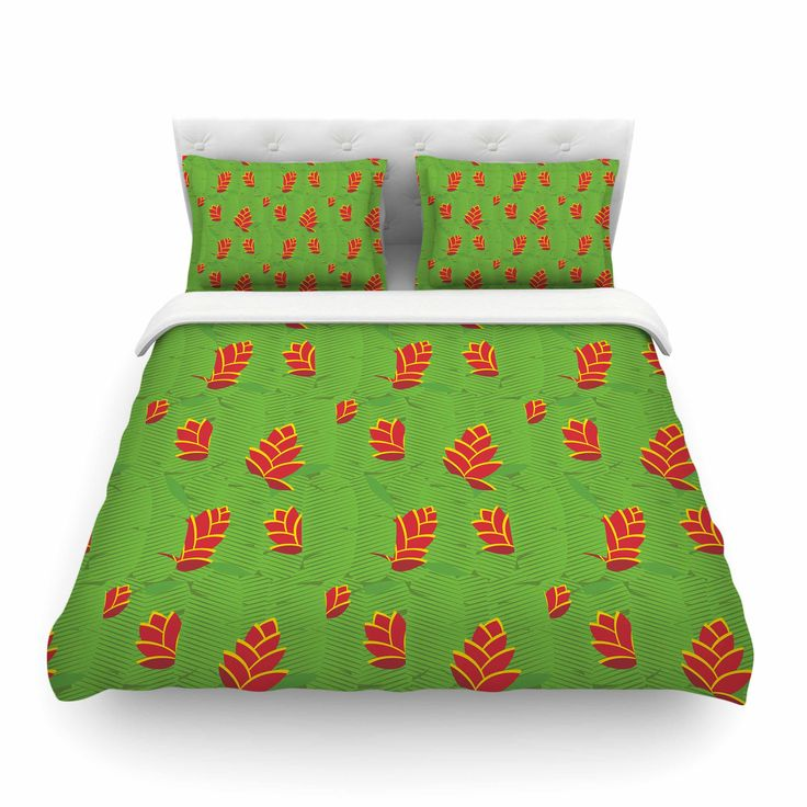 """Yenty Jap """"Heliconia"""" Green Red Cotton Duvet Cover from KESS InHouse"""