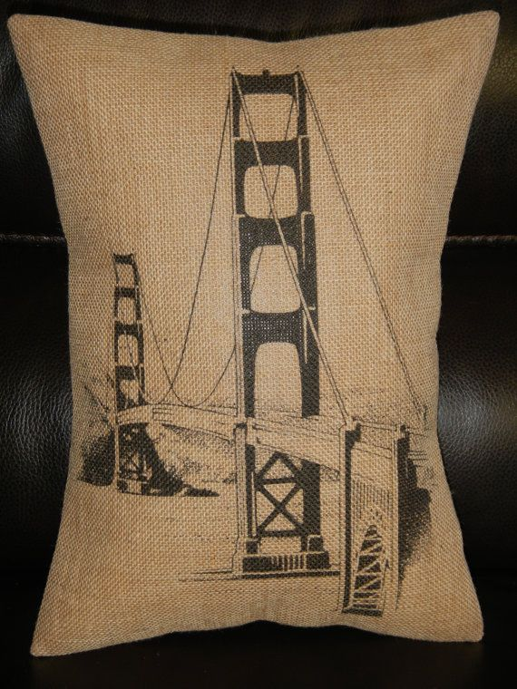 Vintage San Francisco Golden Gate Bridge by PolkadotApplePillows, $22.95
