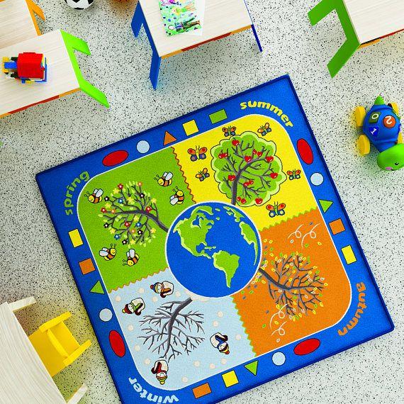 Antdecor Four Seasons Design Kids Rugs Anti Slip Anti