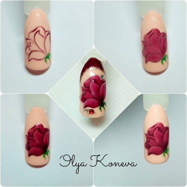 дизайн ногтей розы фото пошагово открыть его