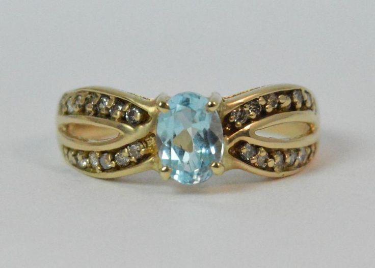 14ct Gold Topaz & Diamond Ladies Ring t0426