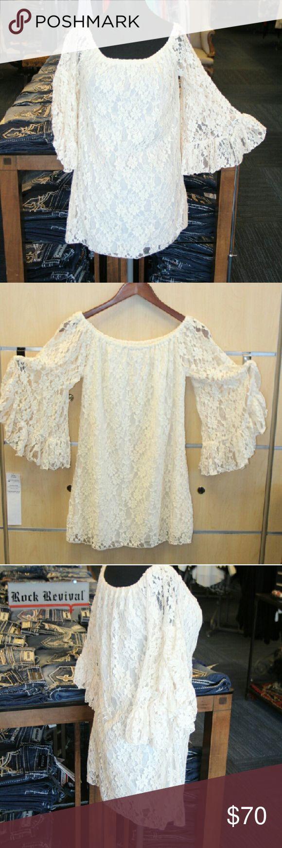 Elan Flower lace Cream Mini Dress with Ruffles Elan flower lace cream/white mini dress/skirt with ruffles ocer sized sleeves, elastic neck band 80% cotton 20%nylon lining 100% rayon Elan Dresses