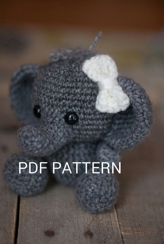 "PATTERN: Crochet elephant toy amigurumi by TheresasCrochetShop, 6"", $3"