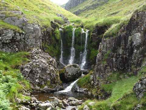 The Three Sisters Waterfall in the Cheviot Hills at the heart of the Northumberland National Park