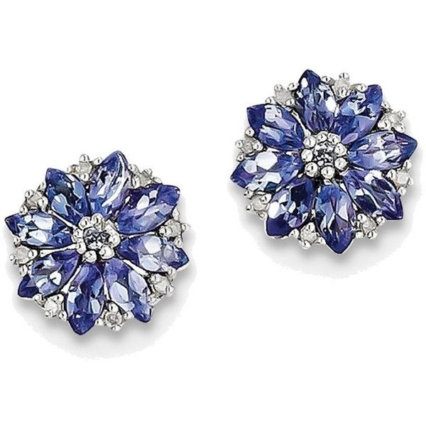 Sterling Silver Rhodium Plated Diamond & Tanzanite Post Earrings... (11.155 RUB) ❤ liked on Polyvore featuring jewelry, earrings, sterling silver jewelry, sterling silver jewellery, post earrings, tanzanite diamond earrings and polish jewelry
