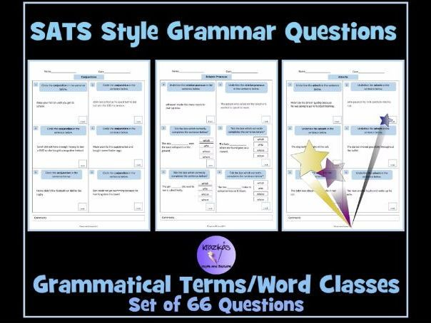 SATS Style English Grammar Questions - Grammatical Terms/Word Classes