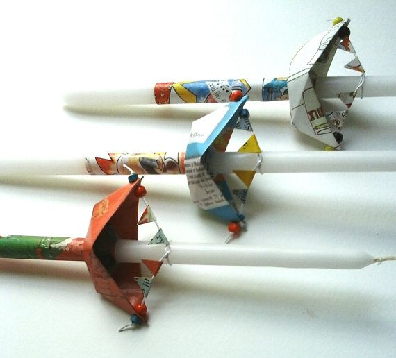 Easter candles Lambades Greek Orthodox Easter Traditional Religious Decorated Candles Paper Boat Origami Boat Λαμπάδα  This is a traditional Greek
